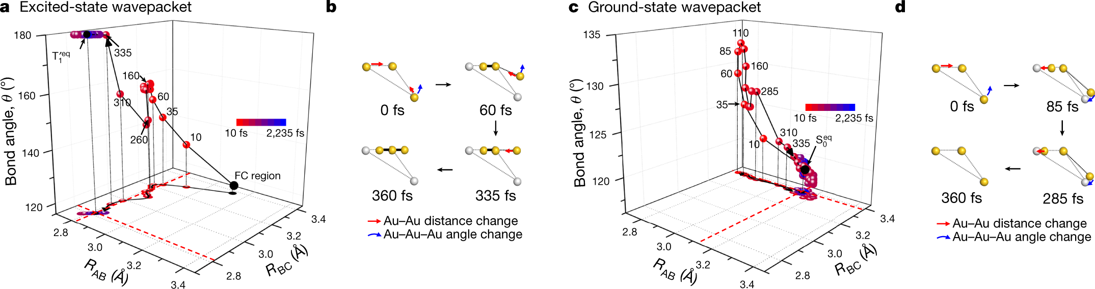 Figure 2. Trajectories of the excited-state and ground-state wavepackets determined from TRXL data.