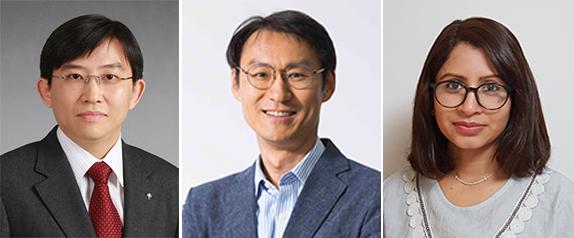 (왼쪽부터) 신소재공학과 김상욱 교수, 생명화학공학과 정유성 교수, 신소재공학과 수치스라 연구교수