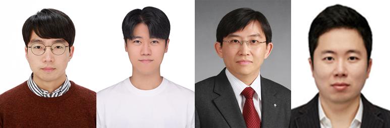 (왼쪽부터) 신소재공학과 이건희 박사과정, 이강산 박사과정, 김상욱 교수, 스티브박 교수