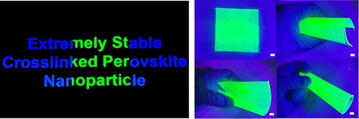 그림 4. 이번 연구에서 개발된 실록산으로 캡슐화된 페로브스카이트 나노 입자 복합체를 대면적 필름형태로 제작한 모습