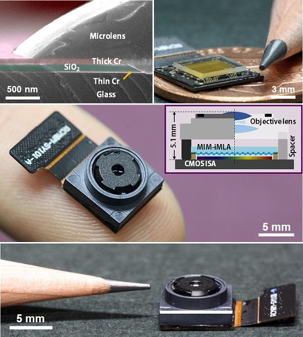 그림 2. MEMS 공정을 통해 제작된 미세렌즈 배열의 단면 현미경 영상과 미세배열 렌즈 사진, 최종 제작된 라이트필드 카메라 사진
