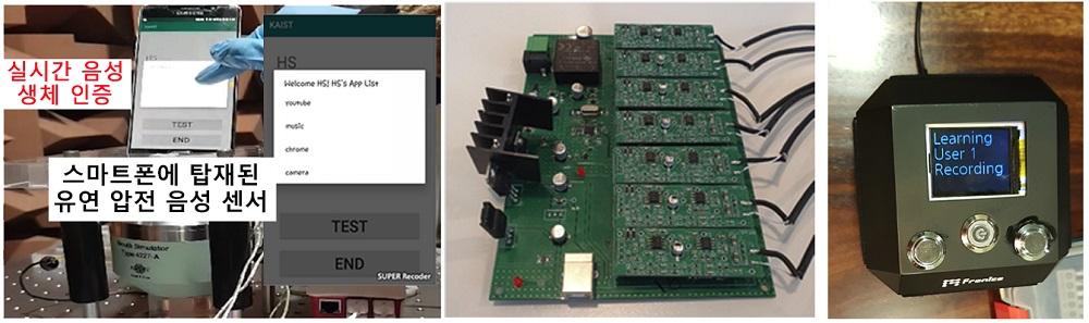 그림 3. 스마트폰 및 인공지능 스피커에 탑재된 유연 압전 음성 센서
