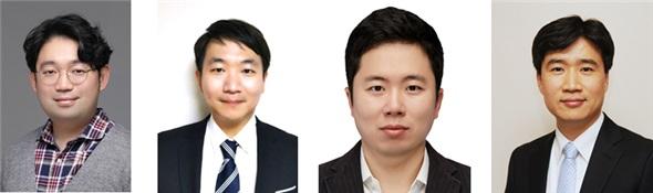 (왼쪽부터) 신소재공학과 김진오 박사, 구원태 박사, 스티브박 교수, 김일두 교수